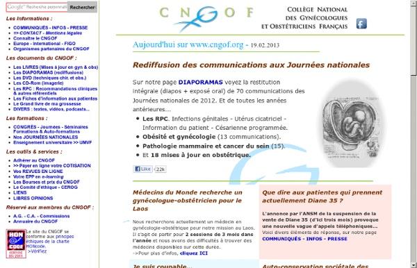 ☞CNGOF - Collège national des gynécologues et obstétriciens français