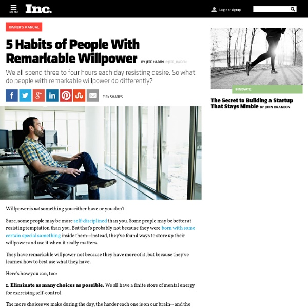 5 Habits of People With Remarkable Willpower