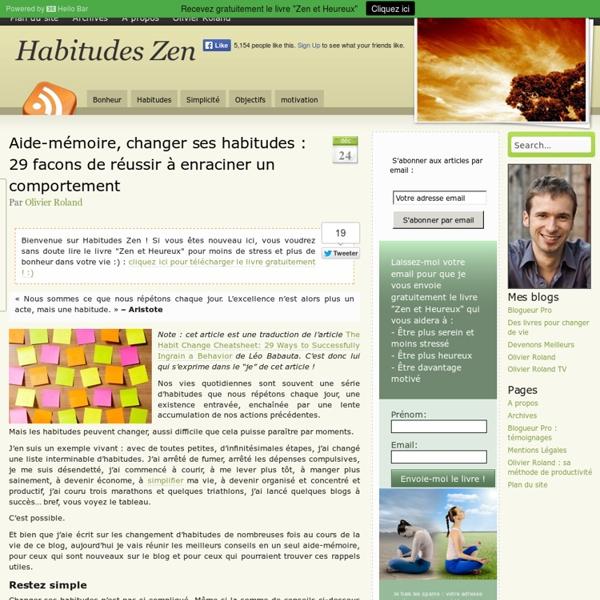 Aide-mémoire, changer ses habitudes : 29 facons de réussir à enraciner un comportement