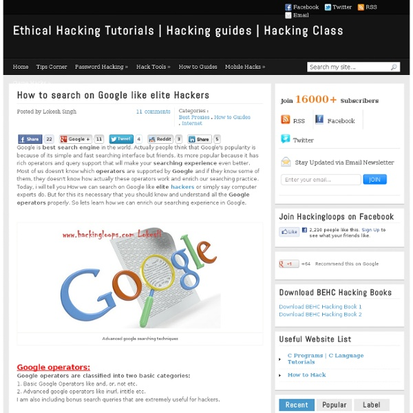 How To Search On Google Like Elite Hackers