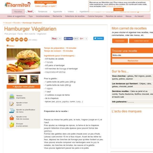 Hamburger Végétarien : Recette de Hamburger Végétarien
