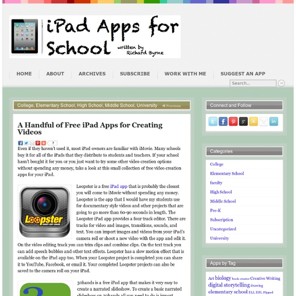 A Handful of Free iPad Apps for Creating Videos | Pearltrees