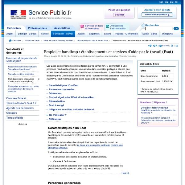 Emploi et handicap : établissements et services d'aide par le travail (Esat)