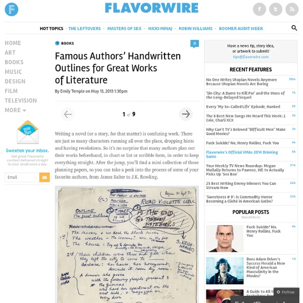 Famous Authors' Handwritten Outlines for Great Works of Literature