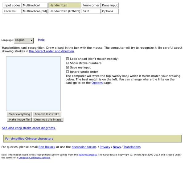 Handwritten kanji search at sljfaq.org