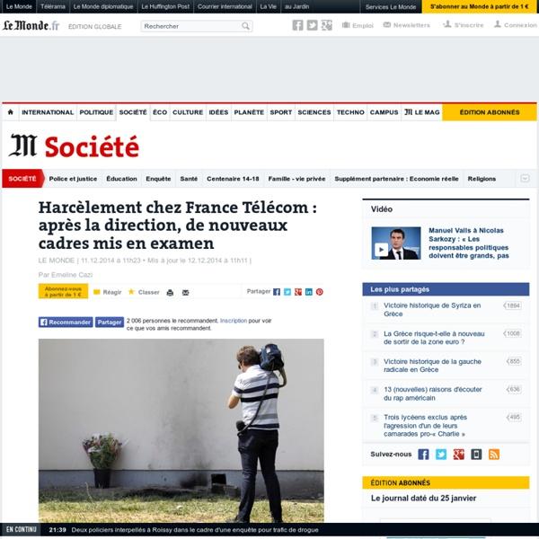 Harcèlement chez France Télécom : après la direction, de nouveaux cadres mis en examen