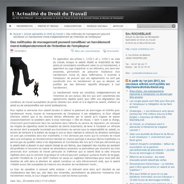 Des méthodes de management peuvent constituer un harcèlement moral indépendamment de l'intention de l'employeur