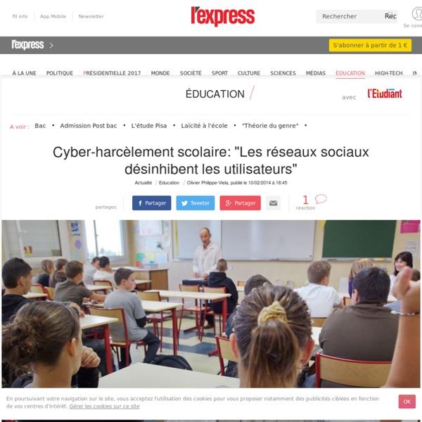 """Cyber-harcèlement scolaire: """"Les réseaux sociaux désinhibent les utilisateurs"""""""