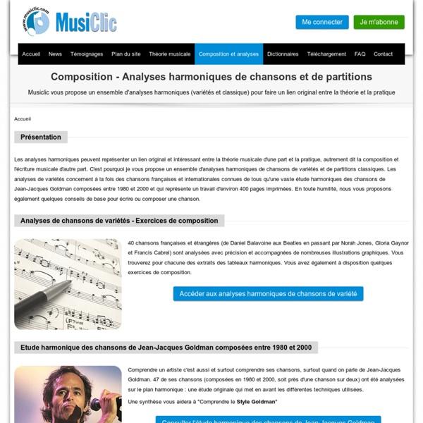 Analyses harmoniques de chansons et de partitions - Composition et écriture musicale