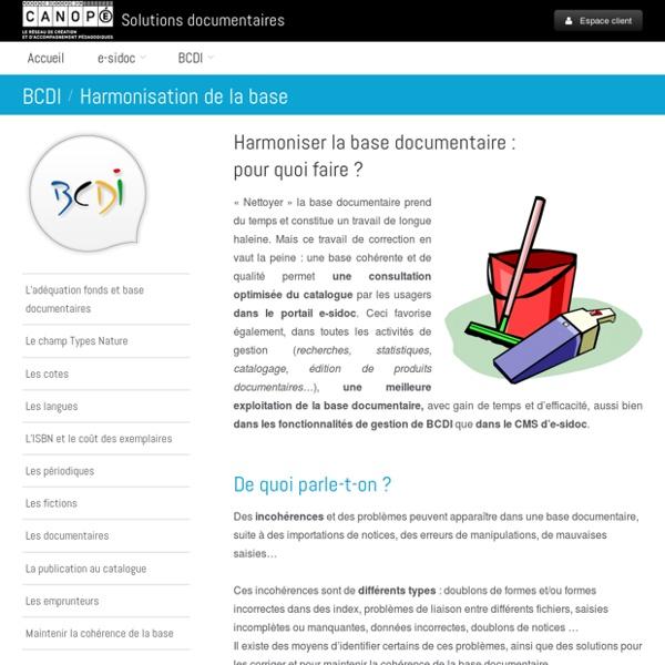 BCDI : Harmonisation de la base