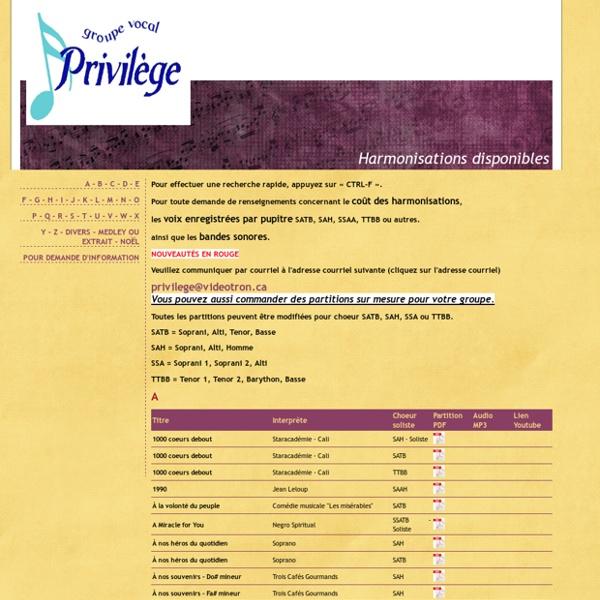 Groupe vocal Privilège : Harmonisations disponibles