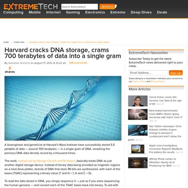 Harvard cracks DNA storage, crams 700 terabytes of data into a single gram