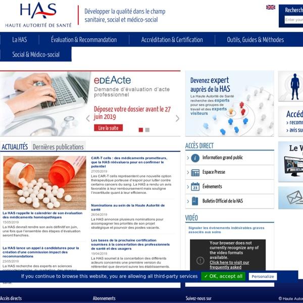 Haute Autorité de Santé - Portail HAS Professionnels