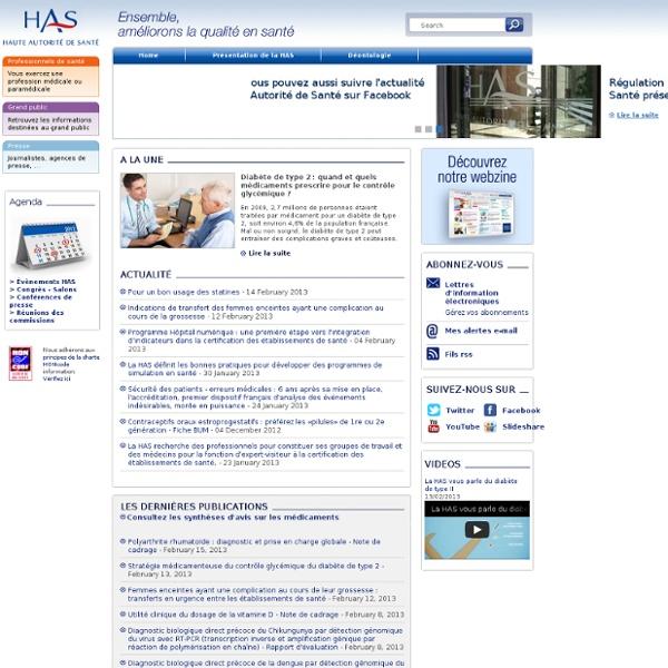 Haute Autorité de Santé - Page d'accueil - Home