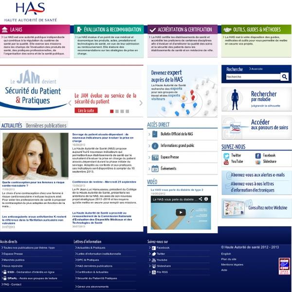 Haute Autorité de Santé Page d'accueil - Accueil - Accueil 2012