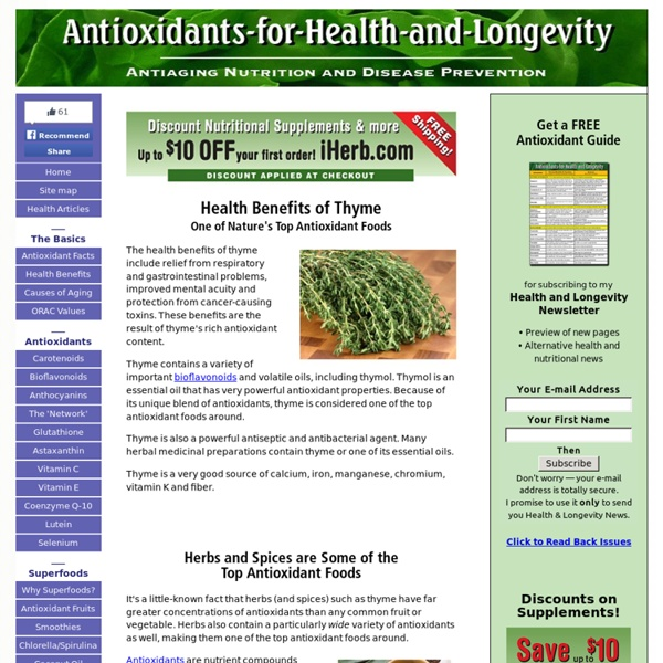 Health Benefits of Thyme, One of Nature's Top Antioxidant Foods