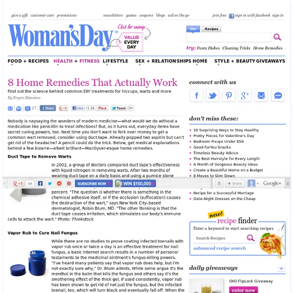 Health Tips - Home Remedies That Work at WomansDay.com - Womans Day