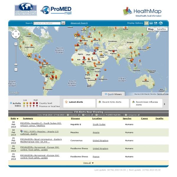 Cartographie mondiale épidémies