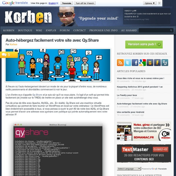 Auto-hébergez facilement votre site avec Qy.Share