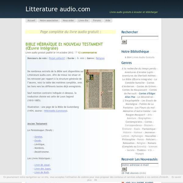 Bible hébraïque - Littérature audio