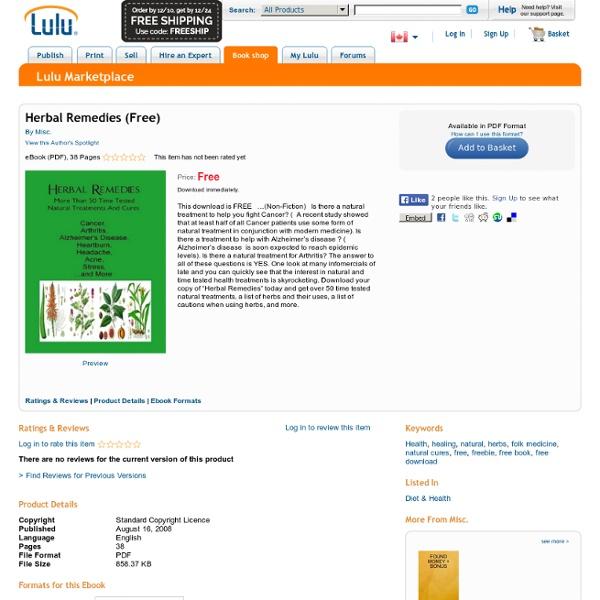 Herbal Remedies - Free EBook