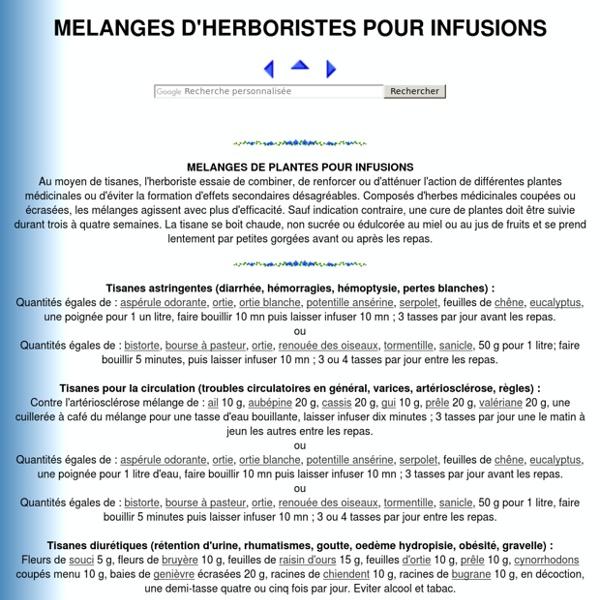MELANGES D'HERBORISTES POUR TISANES MEDICINALES