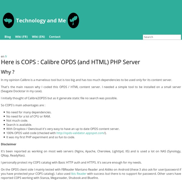 Here is COPS : Calibre OPDS (and HTML) PHP Server - Technology and me