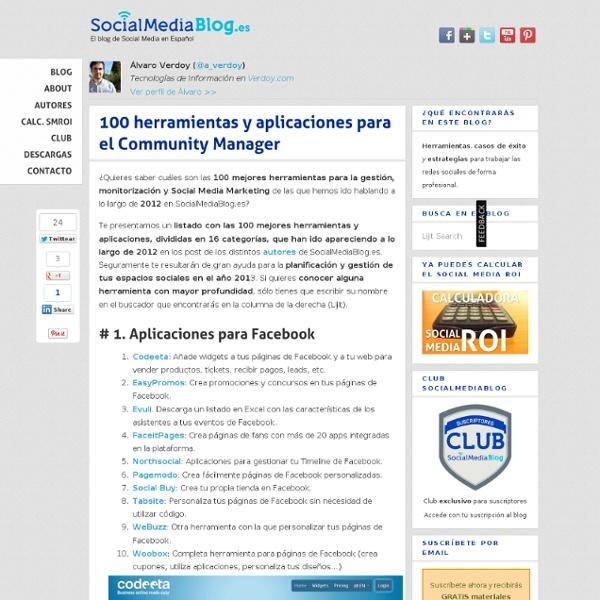 100 herramientas y aplicaciones para el Community Manager