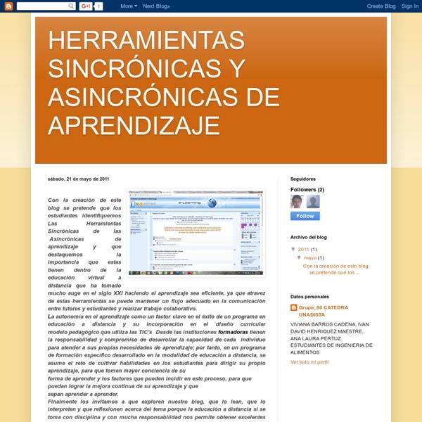 HERRAMIENTAS SINCRÓNICAS Y ASINCRÓNICAS DE APRENDIZAJE