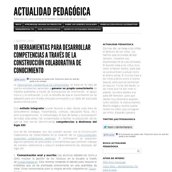 10 herramientas para desarrollar competencias a través de la Construcción Colaborativa de Conocimiento