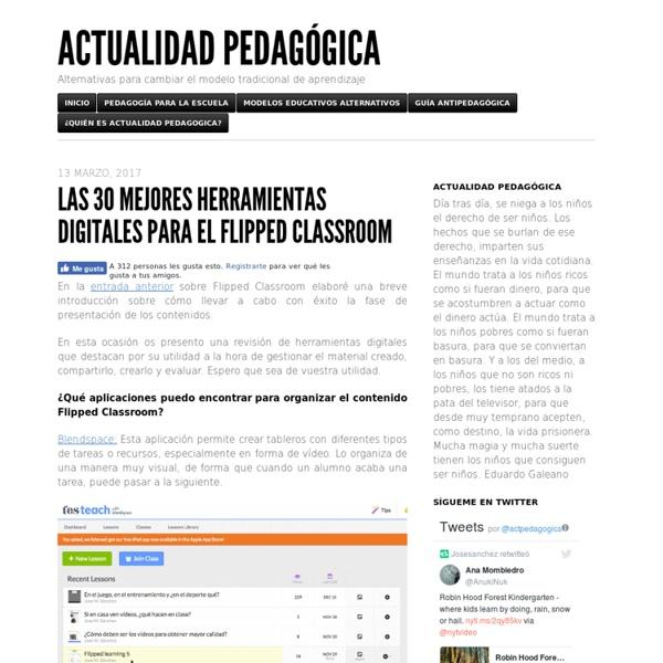 Las 30 mejores herramientas digitales para el Flipped Classroom