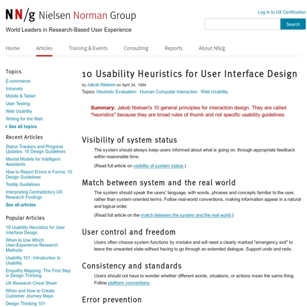 10 Heuristics for User Interface Design