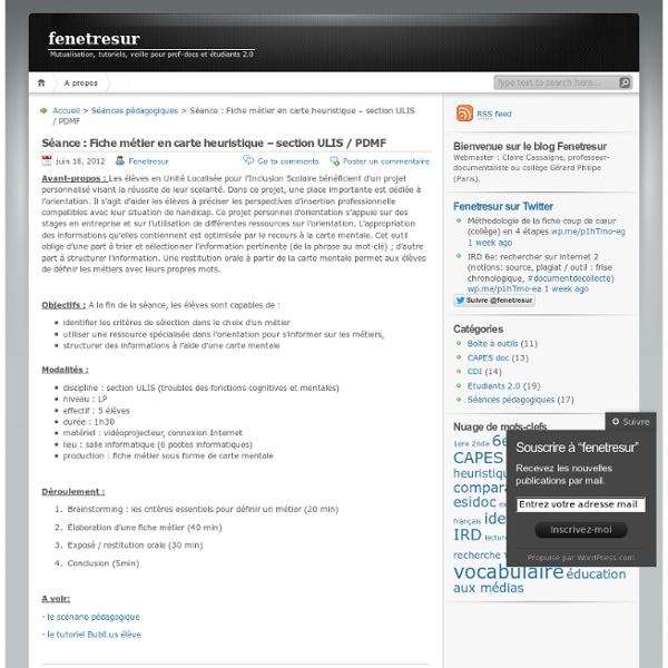 Séance : Fiche métier en carte heuristique – section ULIS / PDMF