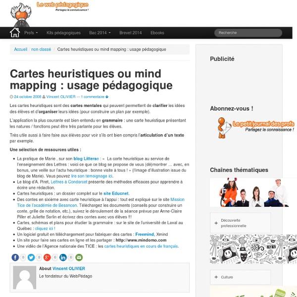 Cartes heuristiques ou mind mapping : usage pédagogique : Le blo