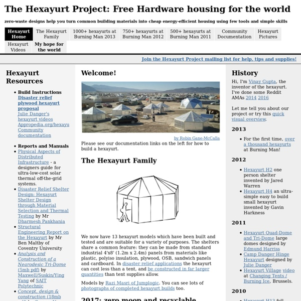 The Hexayurt Project: Free Hardware housing for the world