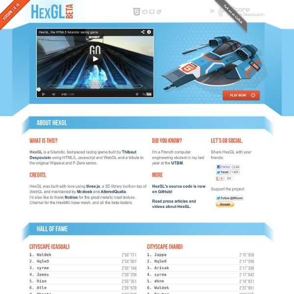 HexGL, the HTML5 futuristic racing game.