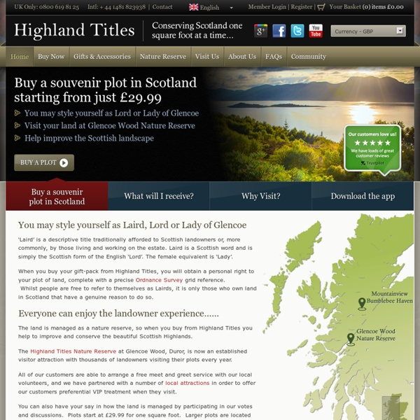 Purchase a Lord Title, Laird Title or Lady Title