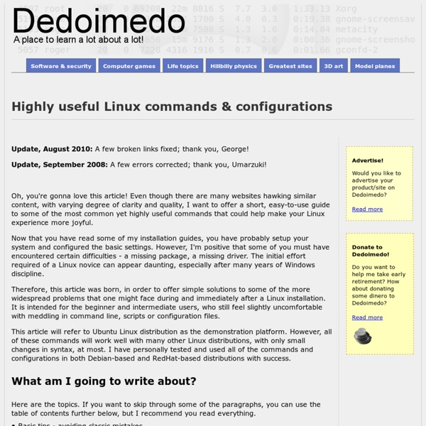 Highly useful Linux commands & configurations