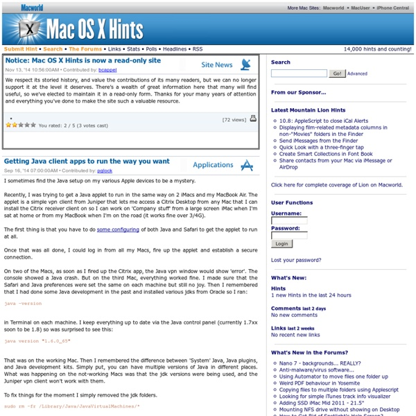 Mac OS X Hints - A community-built collection of OS X hints