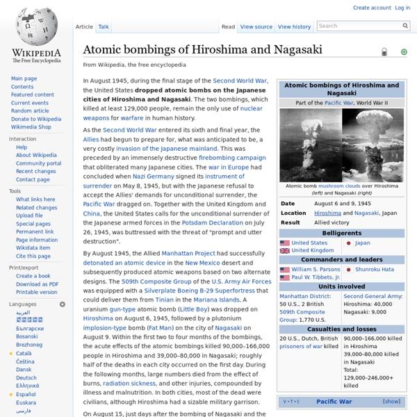 Wikipedia: Atomic bombings of Hiroshima and Nagasaki
