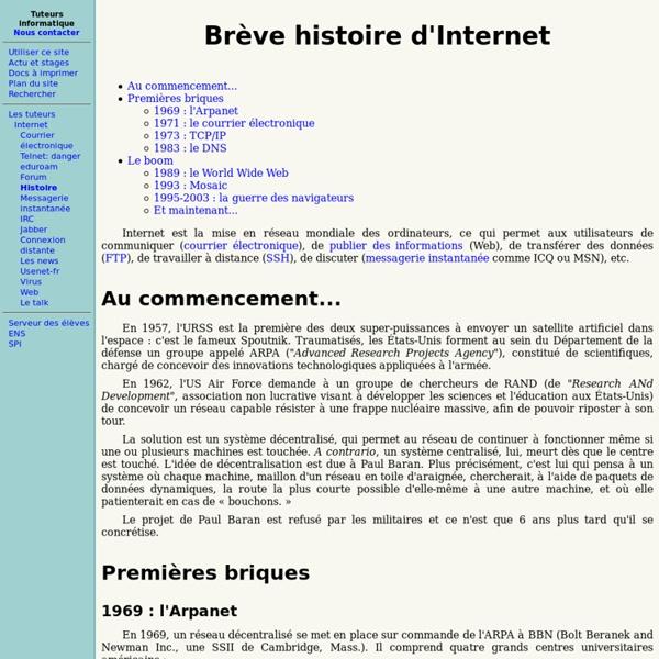 Histoire de l'internet - Ecole normale supérieure