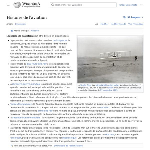 Histoire de l'aviation Wikipedia