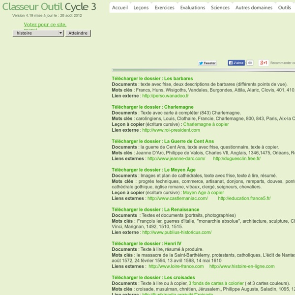 Classeur outil Cycle 3 Histoire