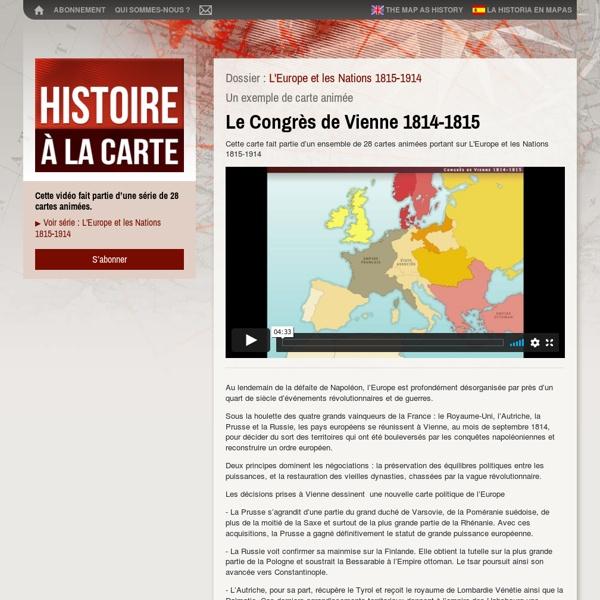 Cartes et histoirede l'Europe au XIXe siècle, du Congrès de Vienne 1815 au Printemps des peuples 1848