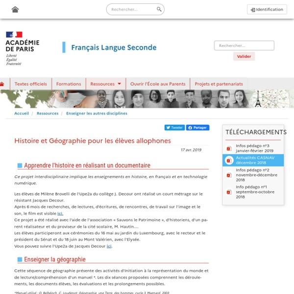 Histoire et Géographie pour les élèves allophones