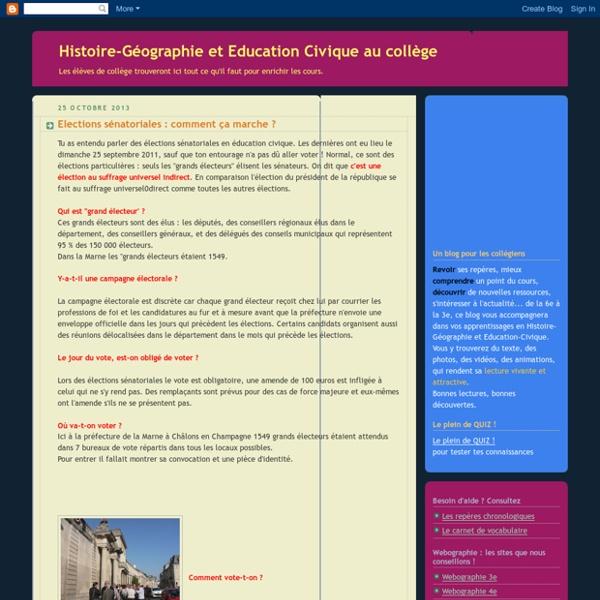 Histoire-Géographie et Education Civique au collège