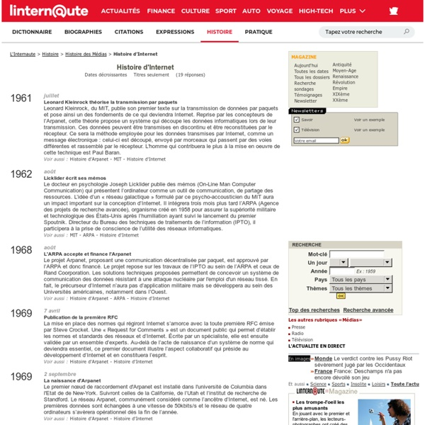 Histoire d'Internet - L'Internaute Magazine