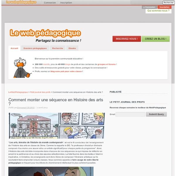 Histoire des arts : de l'œuvre à la réalisation - LeWebPédagogique