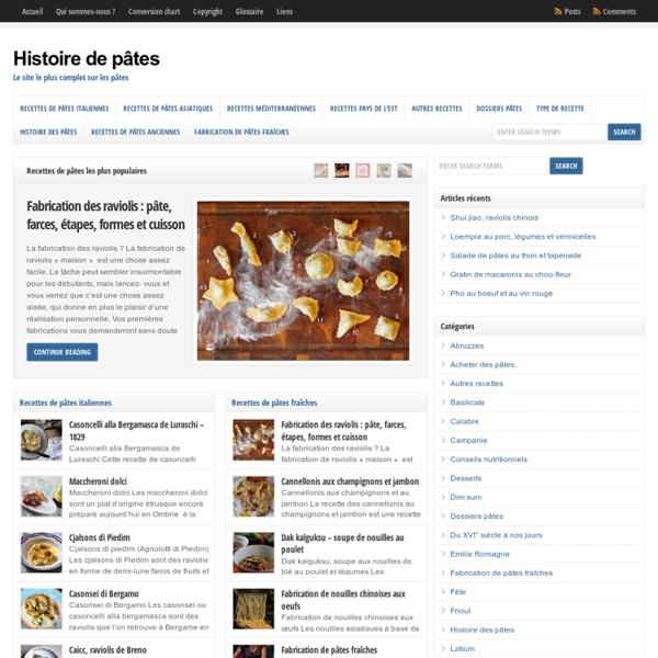 Histoire de pâtes - Le site le plus complet sur les pâtes