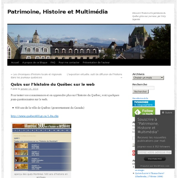 Quizs sur l'histoire du Québec sur le web
